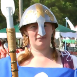 Jehanne plays the role of a shieldmaiden well while acting as the Baronial Guard.